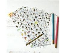 Cute girl transparent sticker cartoon stickers diary 6 pack