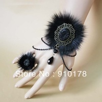 winter goths imitated fur lace bracelet bangle fashion vintage sweet wristband costume accessory