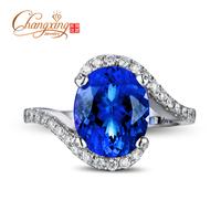 4.3ct Violet Blue AAAA Tanzanite Full Cut Diamond 14k Gold Engagement Wedding Ring
