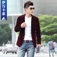 new 2013 Fashion men's clothing spring and autumn casual suit male flat velvet flannelette slim navy blue Wine red outerwear