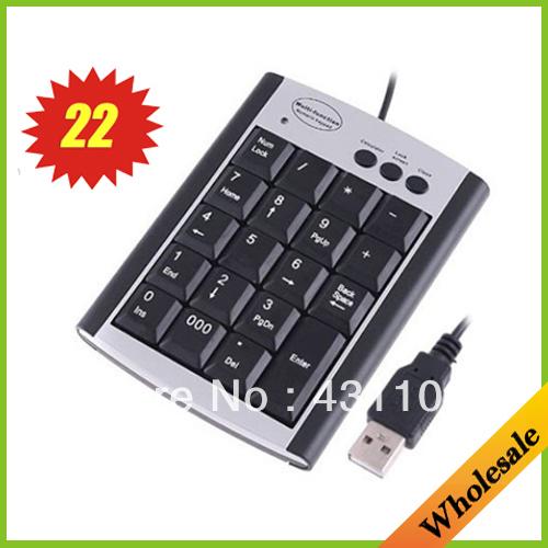 Free shipping 22 Keys Multifunction USB Numeric Keypad Keyboard Calculator mini keyboard wired as laptop & tablet accessories(China (Mainland))