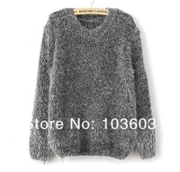 20pcs/lot 2014 Autumn Korean Fashion Sweet Solid Color Round Neck Mohair Pullover Sweaters Women Long-sleeved Loose Sweaters