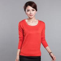 Female women's pullover sweater low o-neck sweater basic female autumn long-sleeve shirt