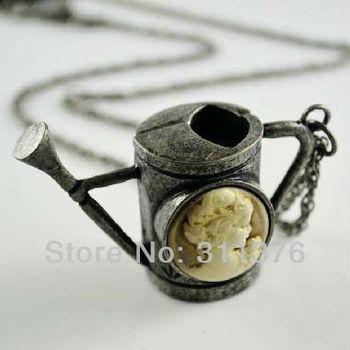 6Pcs Vintage Beauty Woman Avatar Kettle Pendants Necklaces Colar Wholesale Womens Jewelry a06191