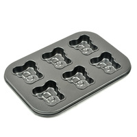 Free shipping 6 pan Aluminum bear shape cake pan baking mold cake mold biscuit mold