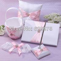 Pink Satin Wedding Collection with Rhineston Guestbook/Pet set/Ring Pillow/Flower Girl Basket/Garter