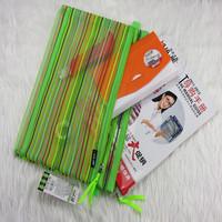 Zipper bag a4 double layer paper bags colorful silk mesh bags storage bag