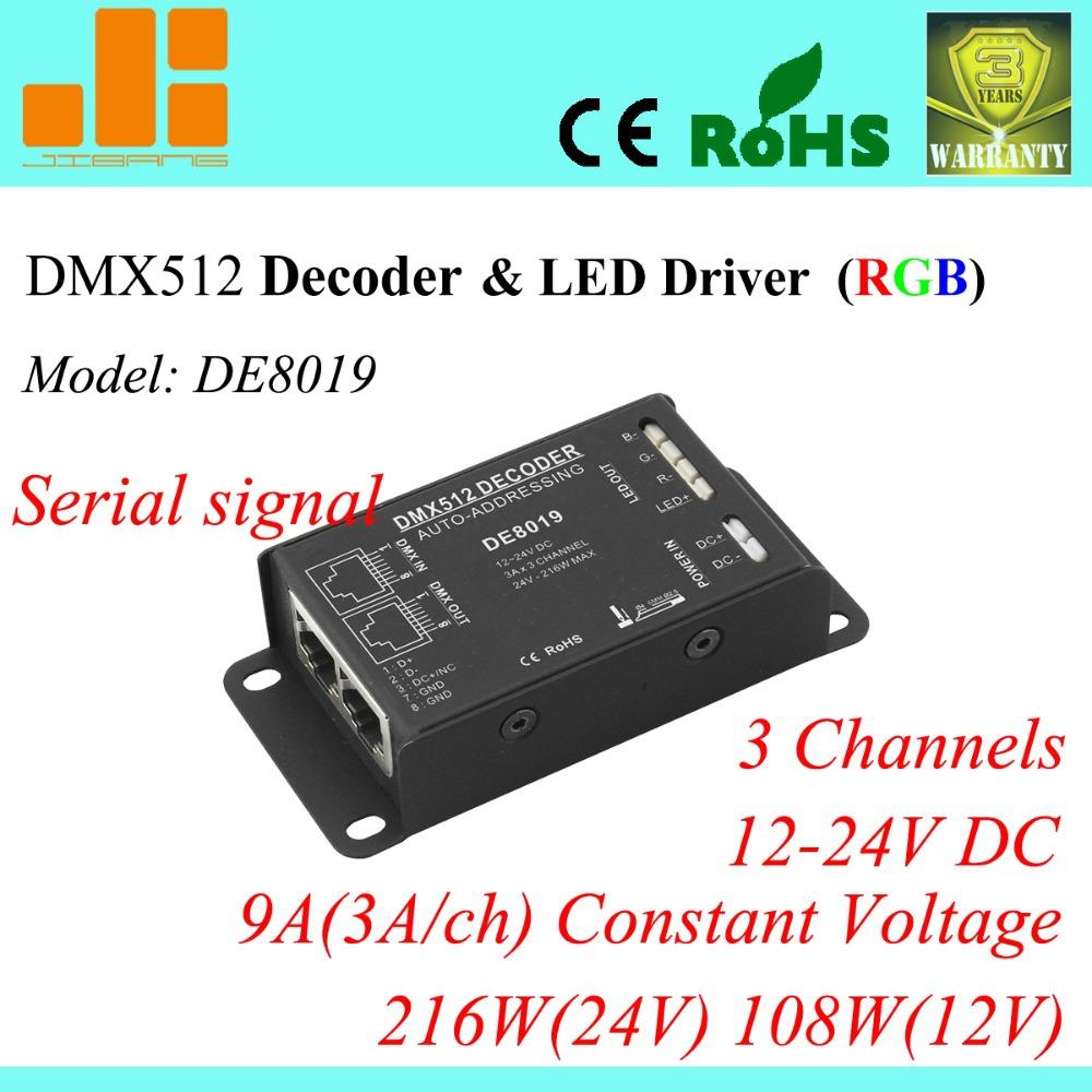 Free Shipping DMX Decoder DMX512 pwm LED Driver Series RGB controller DE 8019(China (Mainland))