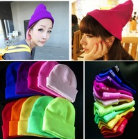 new 2013 autumn Fashion Neon men and women of fluorescent color line cap hat knitted cap GD hip-hop MaoXianMao set of head cap