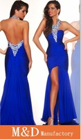 Free Shipping Sexy Style2014 New Year Chiffon Backless Halter Blue Chiffon Split Evening Dresses Evening Gown 2013 (MDe920)