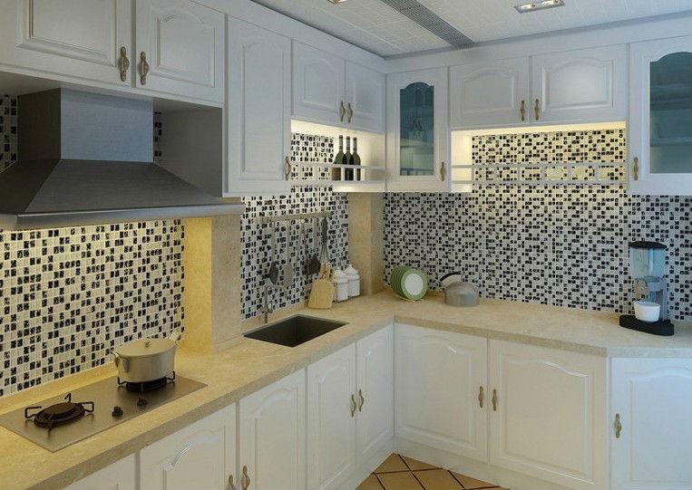 ice crack glass tiles for kitchen backsplash black white