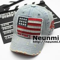 Child flag denim baseball cap male cap labeling