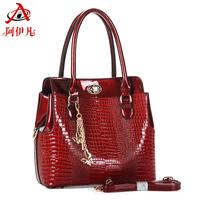 Fashion quality 2013 fashion crocodile pattern embossed women's japanned leather handbag cross-body shoulder bag