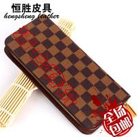 Fashion men plaid zipper bag male long design wallet luxury genuine leather women's wallet mobile phone bag day clutch