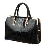 2013 fashion crocodile pattern glossy women's japanned leather handbag fixiform handbag messenger bag