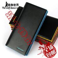 Male long design wallet multi card holder multifunctional wallet color block wallet
