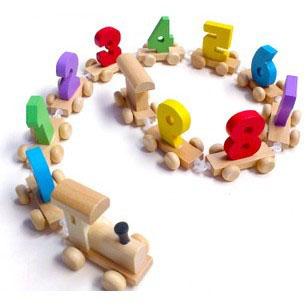 Free Shipping Mini Child digital wooden educational small train toys,wooden kids play mini train.(China (Mainland))
