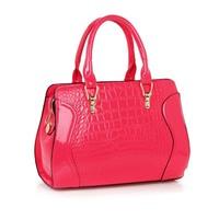 Fashion crocodile pattern PU women's handbag patent leather bag women's handbag