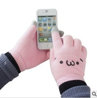 Smile Face Design Knitted Screen Touch Gloves, Pink / White Magic Winter Warming Smartphone Touch-screen Gloves, Free Shipping