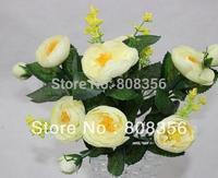 """High Quality 20Pcs 30cm/11.81"""" Length Artificial Simulation Silk Camellia Tea Rose Seven Stems Per Bush Wedding Flower"""