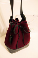 2013 women's handbag fashion woolen vintage bow bucket bag fashionable casual messenger bag