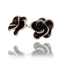 Summer Dress 2014 Fashion Jewelry Women Earring 18K Gold Plated Black Rose Flower Crystal Earrings Wholesale 18KGP E578