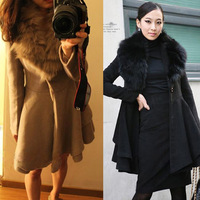 6002 2013 new arrival fur turn-down collar big skirt cashmere overcoat trench outerwear