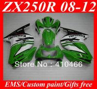 Injection Molded for KAWASAKI Ninja 250R ZX250R ZX250 08 09 10 11 12 EX250 2008 2012 fashion white green Fairings bodywork KH6