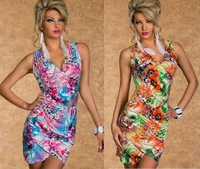 Sleeveless Deep V-Neck Flower Printed Sexy Nightclub Wear 2 Colors new fashion 2013 Club Dresses Clubwear With Floral Print