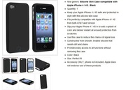 For Apple iPhone 4 4S G OS Black Silicone Rubber Soft Case