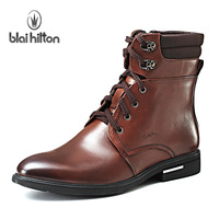 High quality 2013 fashion pointed toe boots trend martin boots genuine leather male boots high leather boots