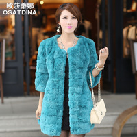 Free shiping 2013 high quality rabbit fur o-neck medium-long three quarter sleeve fur coat