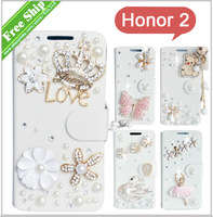 Fashion Gift Diamond Bling Wallet Flip PU Leather Phone Case Cover For Huawei Honor 2 G600 U9508 U8950D +Free Screen Protector