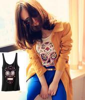 Hot sell! Leisure wild (skull and crossbones) small vest straps / black & white