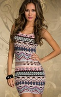 2013 Women Sexy Gray Printed Style Classical Mysterious Design Style Multicolor Hit Color Dress Clubwear Dresses 4colors