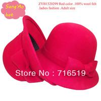wholesale  Red Fashion ladies derby hat100% wool felt or bucket fedora cap wear in Winter ,fall ,spring ,wedding ,topee hat
