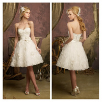 Fashion Sweetheart Princess Short Wedding Dress White/Ivory Romantic Beaded Flower Knee-Length Wedding Gown  Free Shipping cc236
