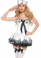 2014 NewNavy suit navy sailor cap + Tube dress princess dress nightclub singer stage performance clothing game clothingFree ship
