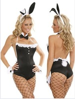 2014 NewBlack bunny rabbit costumes for role-playing Siamese tight sexy dress nightclub DS clothes cospalyFree shipping