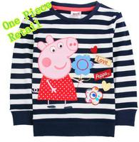 Free Shipping Fashion Baby Girl Wear Lovely Cartoon Clothing 100%Cotton T shirt Brand Nova Peppa Pig Striped Top
