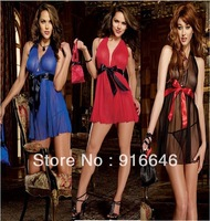 2014 NewThree -color into the game clothing factory outlet sexy underwear sexy backless chiffon nightgown pajamas DressFree ship