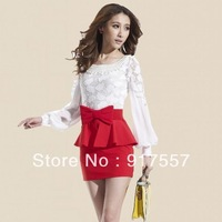 Free shipping ladies casual dress nightclub lace skirt was thin long-sleeved dress waist pencil skirt bow