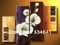 hand-painted wall Yellow flowers white large home decoration abstract Landscape oil painting on canvas 4pcs
