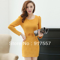 Free shipping autumn - winter clothes new ladies casual dress princess dress lace stitching long-sleeved waist skirt bottoming