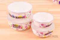 hello kitty enamel bowl bowl of fresh family of four bowls with lids sealed box  free shipping