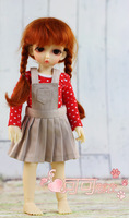 Free shipping cocoa BJD doll dress braces skirt suit