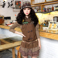 2013 winter women's fashion plus size long-sleeve autumn and winter female woolen one-piece dress winter dress