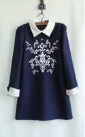 2013 autumn and winter embroidery color block turn-down collar woolen elegant one-piece dress