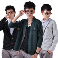 2013 autumn men's clothing sweater male slim knitted sweater male V-neck cardigan solid color