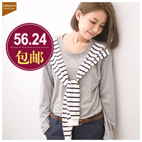 Catworld 2013 women's long-sleeve T-shirt 11303223 ocean wind horizontal stripe cape t-shirt